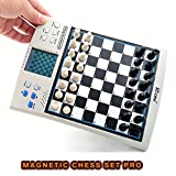 chess computer board - iCore Chess Set, Travel Magnetic Checkers Board, Electronic No Stress Teaching Game for Kids Adults