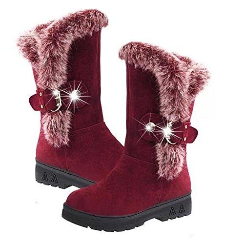 Hzjundasi Frauen Winter Warme Schneeschuhe Verdicken Fell Peeling Wildleder Schuhe Fleeced Wohnungen Botas Rot