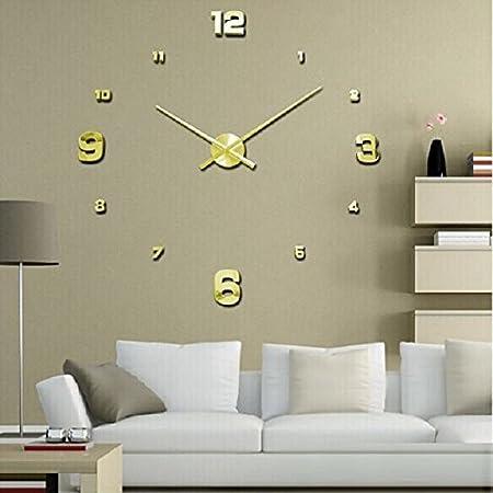 JMWhittle Tech(TM) Luxury 3D DIY Frameless Large Quartz Wall Clock Mirror  Surface Sticker