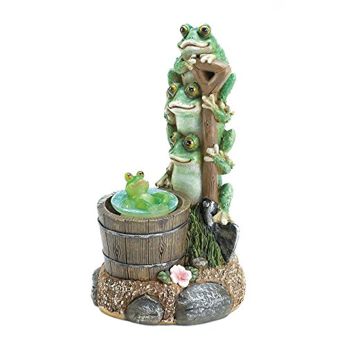 Garden Decoration, Rotating Frog Outdoor Small Statue Home Garden Decor Solar