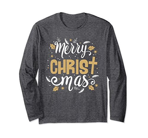 Unisex Christian T-Shirt Merry Christmas Cross Long Sleeve T-Shirt Large Dark Heather