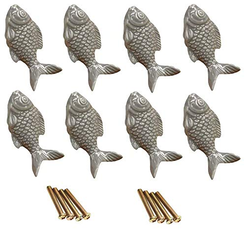 FirstDecor 8pcs Grey Lovely Fish-Shaped Ceramic Door Knob/Handles/Pulls for Cupboard/Cabinet/Bathroom/Drawer Great Furniture Ornaments Nursery/Baby Room