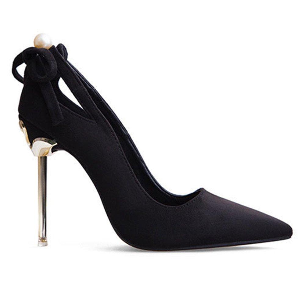 Koreanische Version Der Sexy Süße Mode Wies Hochhackige Schuhe Metall Mit Schuhen Einer Bogenferse-Perlenfrauen