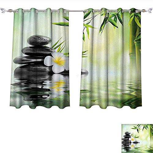 Qinqin-Home Blackout Curtain Panels Window Draperies Spa Garden with Frangipani and Bamboo Japanese Relaxation Luxury Travel Waterproof Window Curtain (W55 x L63 -Inch 2 Panels)