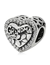 Love Grandma Charm 925 Sterling Silver Charm Bead Gifts for Nana