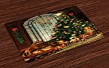 Ambesonne Christmas Place Mats Set of 4, Magical Vintage Ambiance Big Old Fashioned Window Xmas Tree Various Presents, Washable Fabric Placemats for Dining Room Kitchen Table Decor, Brown Red Green