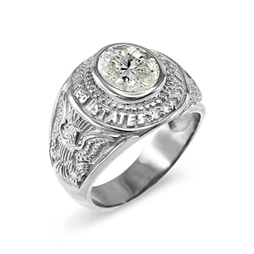 Army Solid Ring (April CZ Birthstone US Army Men's Ring in Solid 925 Sterling Silver (Size 9))