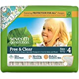 Seventh Generation Free and Clear Sensitive Skin Baby Diapers with Animal Prints, Size 4, 135 Count (One Month Supply)