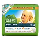 Seventh Generation Baby Diapers, Free and Clear for Sensitive Skin, with Animal Prints, Size 4, 135 Count (Pack of 5)