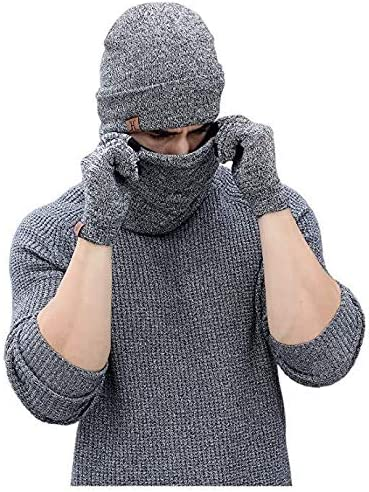 Clothing Set for MenSlouchy Long Oversized Winter Warm jghrunf sanjiantao Knit Cap QZ3824 Black