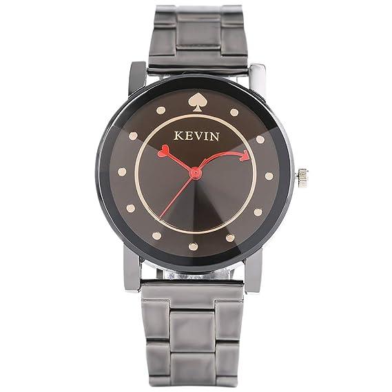 a4dd2b67022b32 Kevin orologio da uomo, Creative Love Heart quadrante orologio al quarzo per  orologi da polso da uomo e da donna, cinturino in acciaio INOX: Amazon.it:  ...