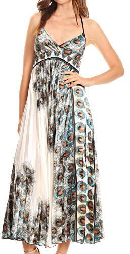 Sakkas CHH14159 - Caterina Strapless V-Neck Padded Empire Waist Satin Maxi Long Dress - White - OS - Empire Strapless Satin