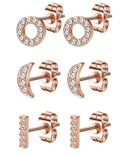 FIBO STEEL Stainless Steel CZ Bar Stud Earrings Dainty Small Stud Earring Set for Women Girls