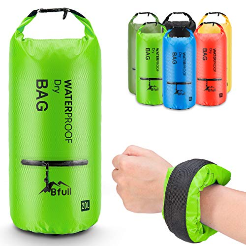 Exterior Zip Pocket - BFULL Waterproof Dry Bag 5L/10L/20L/30L/40L [Lightweight Compact] Roll Top Water Proof Backpack with 2 Exterior Zip Pocket for Kayaking, Boating, Duffle, Camping, Floating, Rafting, Fishing (Green)