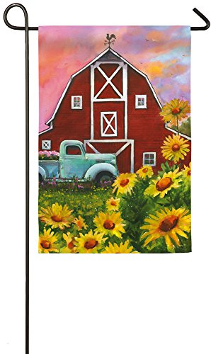 Evergreen Big Red Barn Suede Garden Flag, 12.5 x 18 inches