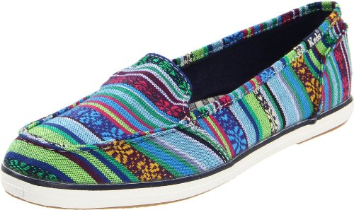 Keds Women's Surfer Baja Stripe Flat Shoes,Blue/Green Woven,6 M US
