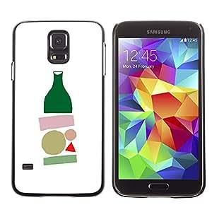FlareStar Colour Printing Bottle Minimalist Modern Art White cáscara Funda Case Caso de plástico para SAMSUNG Galaxy S5 V / i9600 / SM-G900F / SM-G900M / SM-G900A / SM-G900T / SM-G900W8