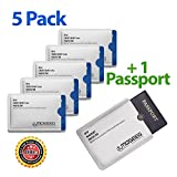Moseeg® RFID Sleeves for Credit Cards & Passports - Full compliance with the US GSA FIPS-201 Electromagnetically Opaque Shield Requirements - Compatible with all Major RFID Enabled Documents Including IDs & Drivers Licenses - Extremely lightweight & Flexible (5 CREDIT CARD 1 PASSPORT)