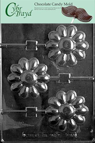Cybrtrayd Life of the Party F097 Large Daisy Lolly Flower Chocolate Candy Mold in Sealed Protective Poly Bag Imprinted with Copyrighted Cybrtrayd Molding Instructions
