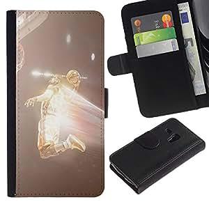 YiPhone /// Tirón de la caja Cartera de cuero con ranuras para tarjetas - Flying Jugador de Baloncesto - Samsung Galaxy S3 MINI 8190