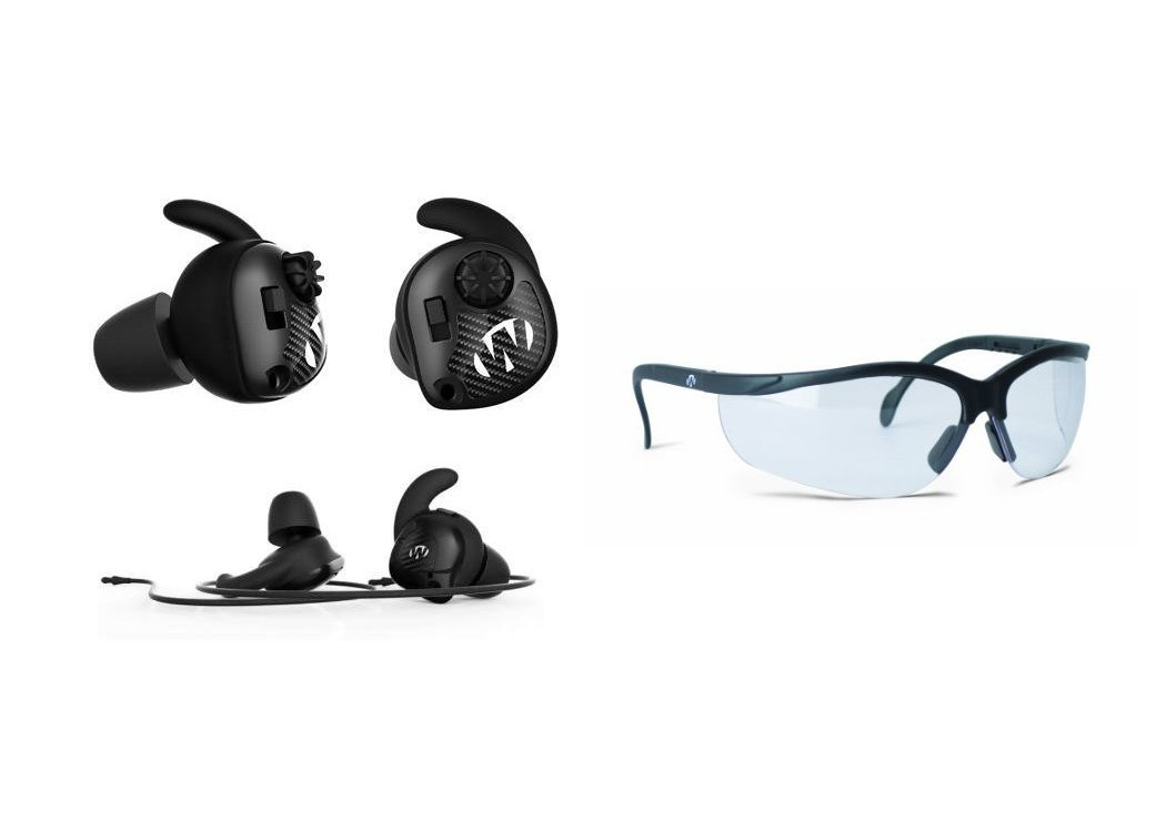 Walker's Game Ear Razor Silencer Earbud (Pair) BUNDLED w/ Clear Lens Shooting Glasses by Walker's Game Ear