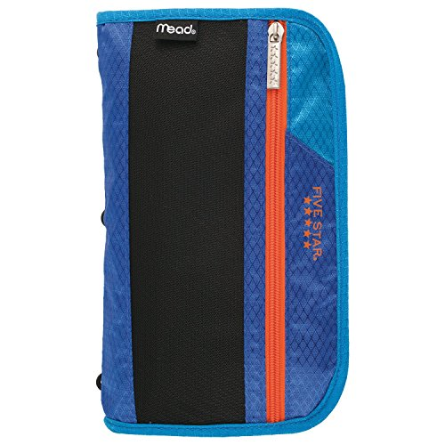 Five Star Zipper Pouch, Pencil Pouch, Pen Case, Xpanz, Cobalt Blue/Orange (Five Pen Case)