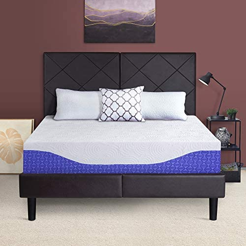 SLEEPLACE 10 Inch SALACIA Multi-Layered I-Gel Infused Memory Foam Mattress Cobalt Blue QUEEN