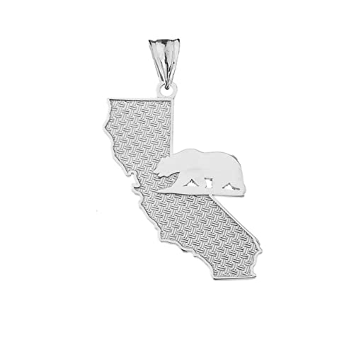California Map Icon.Amazon Com Fine Sterling Silver State Map Of California And Grizzly