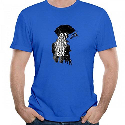 Men's Cowboy Bebop Spike Spiegel Graphic T-Shirt Unisex Short Sleeve Tees Blue XL ()