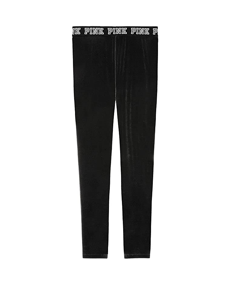 b5db4710507bd8 Victoria 's Secret Pink Logo High Waist Velvet Legging Medium Pure Black at  Amazon Women's Clothing store: