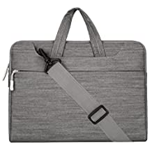 Mosiso Laptop Shoulder Bag / Briefcase, Denim Fabric 13-13.3 Inch Notebook Computer / MacBook Pro / MacBook Air Carry Case, Gray