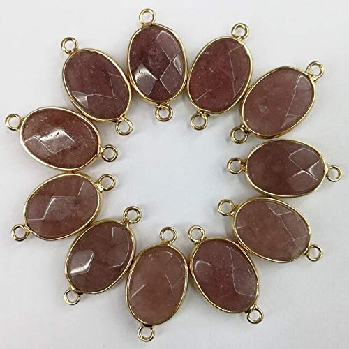 Natural Pink Powder Stone Necklace Charms Pendant | Quartz Crystal Charm for Bracelet Necklace | Connector Jewelry Making (12Pcs) (Strawberry Quartz)