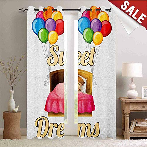 Sweet Dreams, Drapes for Living Room, Cartoon Girl Sleeping in Bed with Colorful Balloons Night Time Illustration, Window Curtain Fabric, W96 x L108 Inch Multicolor ()