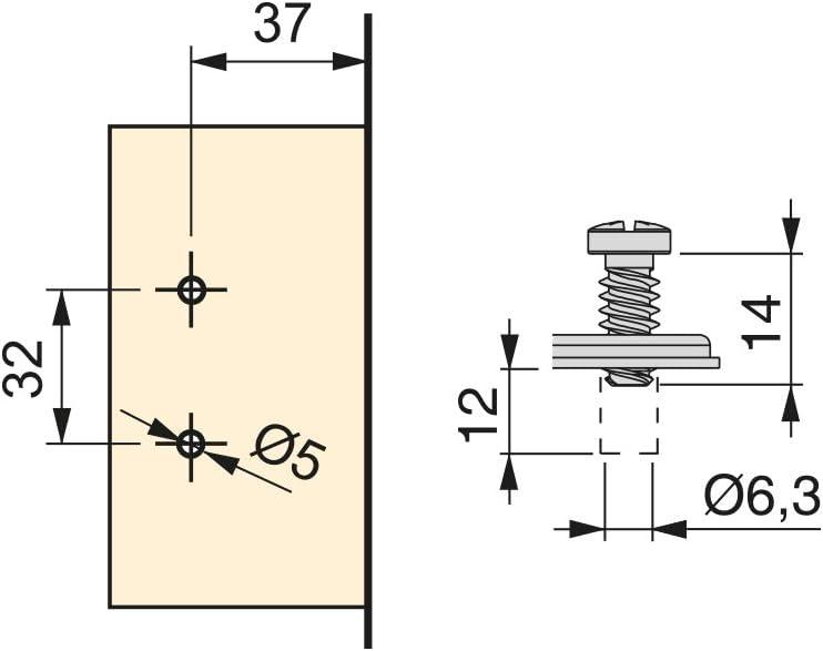 Emuca Lot de 2 charni/ères courb/ées 90/º X91 avec Fermeture amortie et embases Eurovis avec r/églage Excentrique