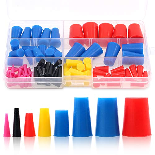 Swpeet 100Pcs High Temp Silicone Rubber Protective Tapered Plug Assortment Kit, Masking System Kit Perfect for Powder Coating, Painting, Anodizing, Plating & Media - Plug Kit Rubber