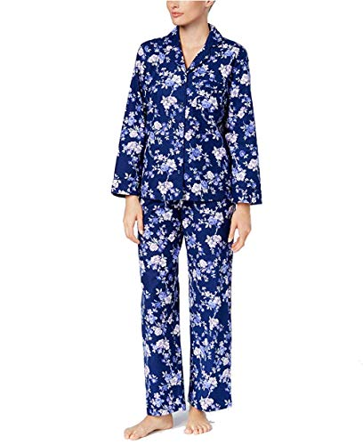 Charter Club Button Down Flannel Pajama Set (Rose Garden) (Large)
