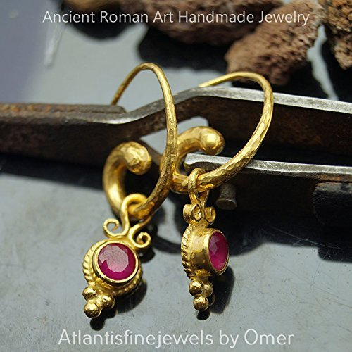 Hammered Horn Earrings With Ruby Charms 24k Gold over 925 Silver Design By Omer Roman Art Fine Jewelry