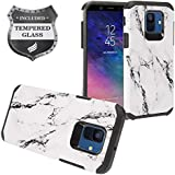 Eaglecell - Samsung Galaxy A6 (2018) SM-A600 - Hybrid Image Hard Case + Tempered Glass Screen Protector - AD1 White Marble