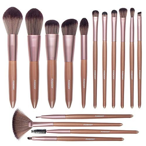 FIXBODY Makeup Brush Sets - 15PCS Wood Handle Soft Synthetic Fiber Hair Kabuki Powder Blush Liquid Eyeliner Eyeshadow Lip Eyebrow Brush (Champaign Gold)