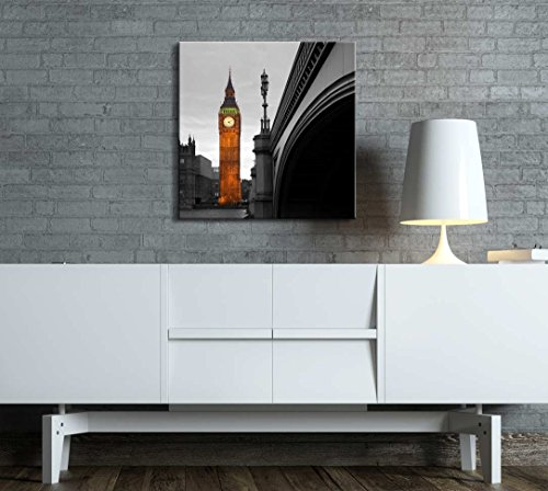 Black and White Photograph of London with a Pop of Color on The Big Ben