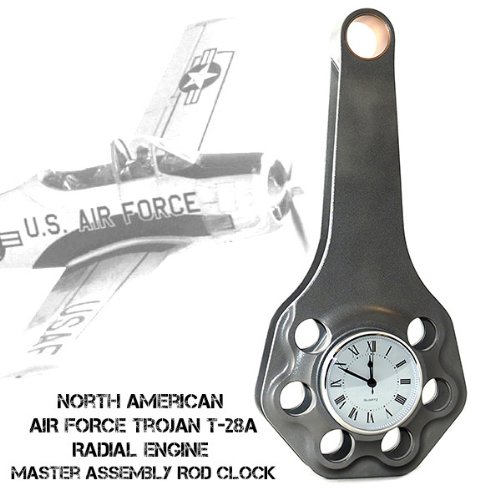 Curtiss Wright North American Air Force T-28A Trojan R-1300 Cyclone 7 Radial Engine Master Assembly Rod Executive Desk Clock (Curtiss Wright Engines)