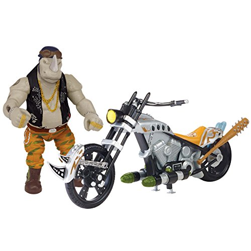 Teenage Mutant Ninja Turtles Movie 2 Out Of The Shadows Rocksteady With Chopper Motorcycle Vehicle With Figure (Chopper Cycle)