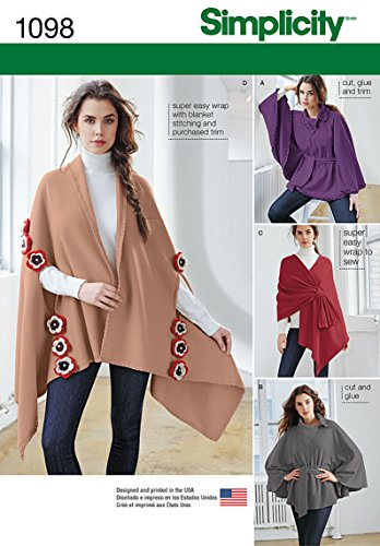 Simplicity 1098 Misses' Fleece Ponchos & Wraps Sewing Template, Size OS (One Size) ()