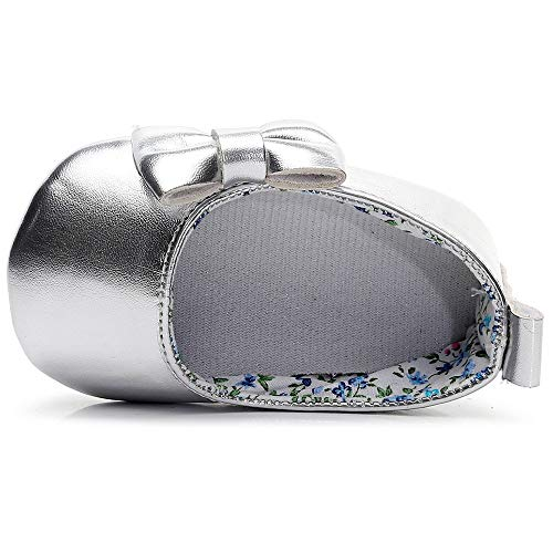 Lanhui Newborn Single Shoes Toddler Baby Girls Shallow Bowknot First Walkers Soft Sole Silver by Lanhui (Image #3)