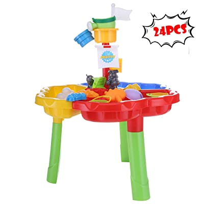 WHAEOSKH 24 PCS Kids Beach Summer Toys Set Large Baby Play Water Digging Sandglass Play Sand Tools Home Outdoor Garden Set for 2 3 4 5 6 Kids Play Set: Toys & Games