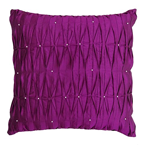 S4Sassy Decorative Handmade Cushion Cover Magenta Dupion Silk Beaded Pillow Case Square Throw 16 x 16