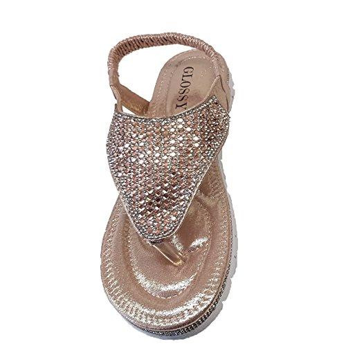 Sapphire Boutique by Sapphire Zafiro Boutique Mujer Gema pedrería con Tira Trasera DE Dedo Cuero De Imitación de Moda Chanclas Oro Color De Rosa