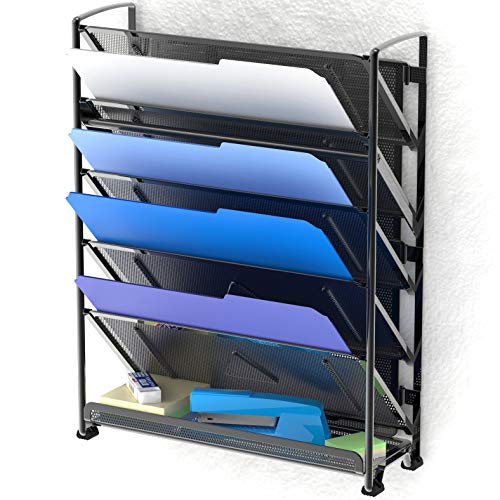 SimpleHouseware 6 Tier Wall Mount Document Letter Tray Organizer, Black ()