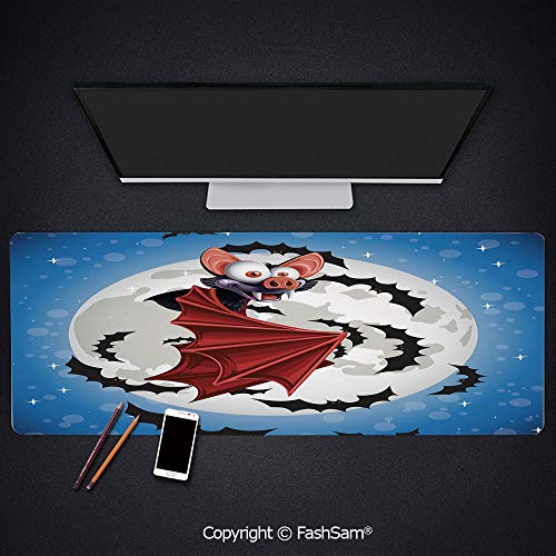 - Personalized Large Mouse Pad Cute Funny Cartoon Bat Mascot Flying in Night Sky Full Moon Stars Horror Keyboard Pad for Laptop(W27.5xL11.8)