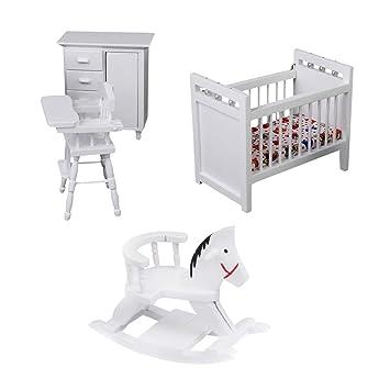 d4d65802b Amazon.es: Sharplace Conjunto de Caballito de Balancín Moderno Kit de  Muebles de Habitación de Bebé de Madera para 1/12 Casa de Muñecas: Juguetes  y juegos
